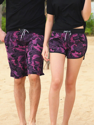 Couple's Red Camo Beach Shorts
