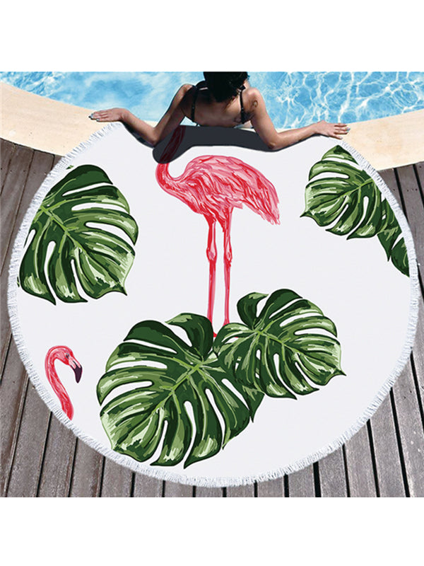 Trendy Flamingo Plants Prints Tassel Round Beach Towel Leaves