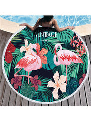 Stylish Flamingo Plants Pattern Tassel Round Beach Towel Flowers Green