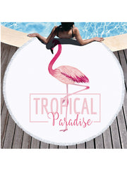 Soft Flamingo Plants Prints Tassel Round Beach Towel Pink Letter Tropical Paradise