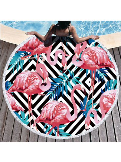 Flamingo Plants Geo Prints Tassel Round Beach Towel Black Rhomboid