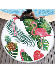 Flamingo Tropical Flowers Prints Tassel Round Beach Towel Leaves Pineapple