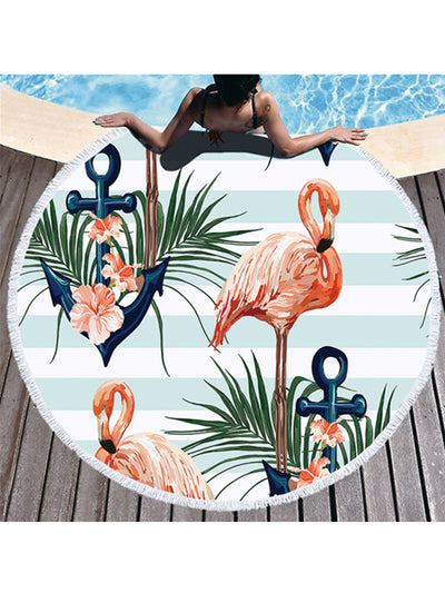 Flamingo Stripes Prints Tassel Round Beach Towel Light Blue Flowers Anchor