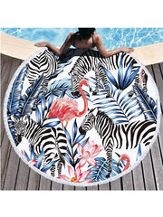 Chic Flamingo Plants Prints Tassel Round Beach Towel Zebra Lotus