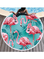 Flamingo Plants Printed Tassel Round Beach Towel Light Blue