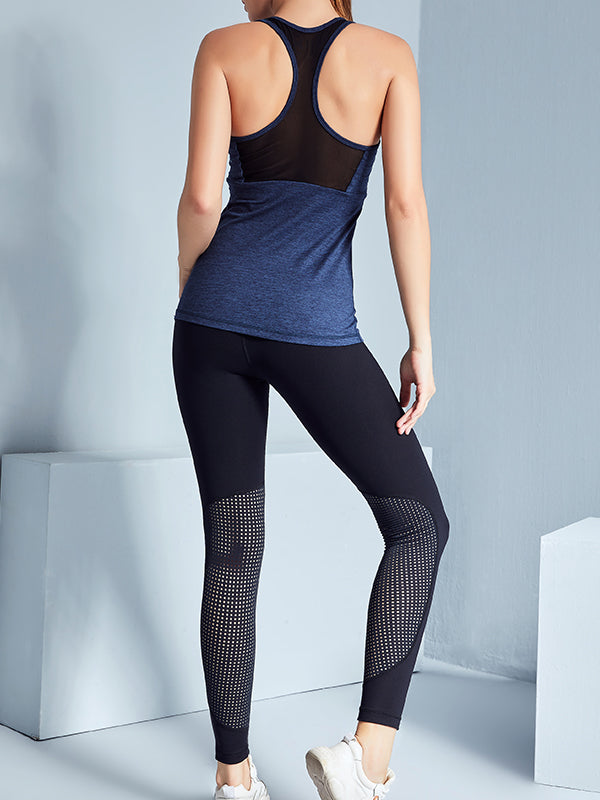 LikeBunny See Through Mesh-Mix Racerback Sports Tank Navy