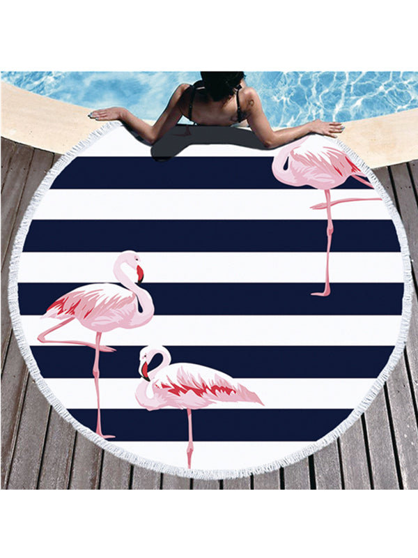 Flamingo Plants Stripes Prints Tassel Round Beach Towel Black