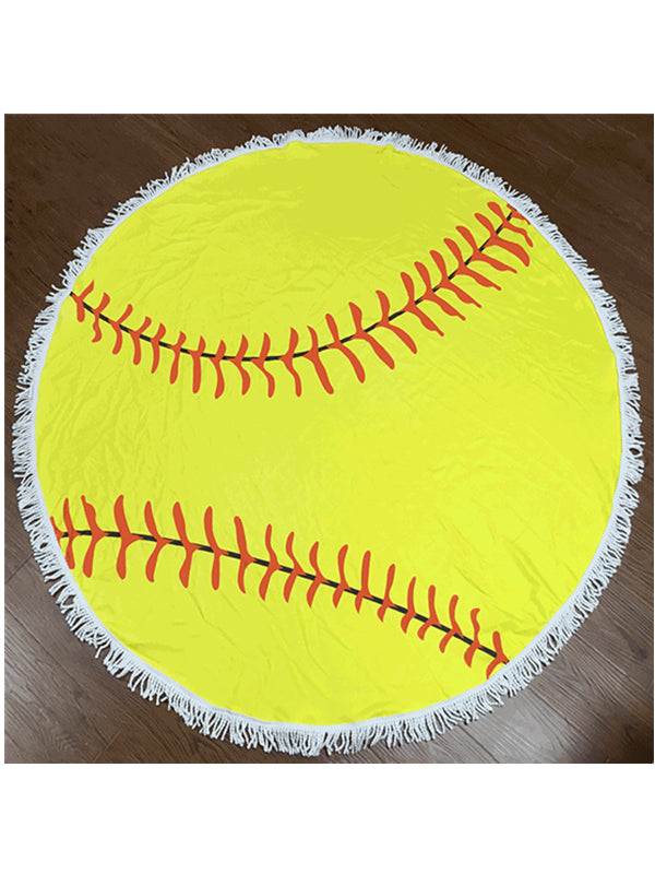 Stylish Baseball Tassel Round Beach Towel Yellow
