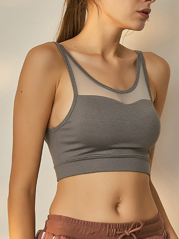 Mesh Decor Women's High Impact Support Workout Sports Bra Grey