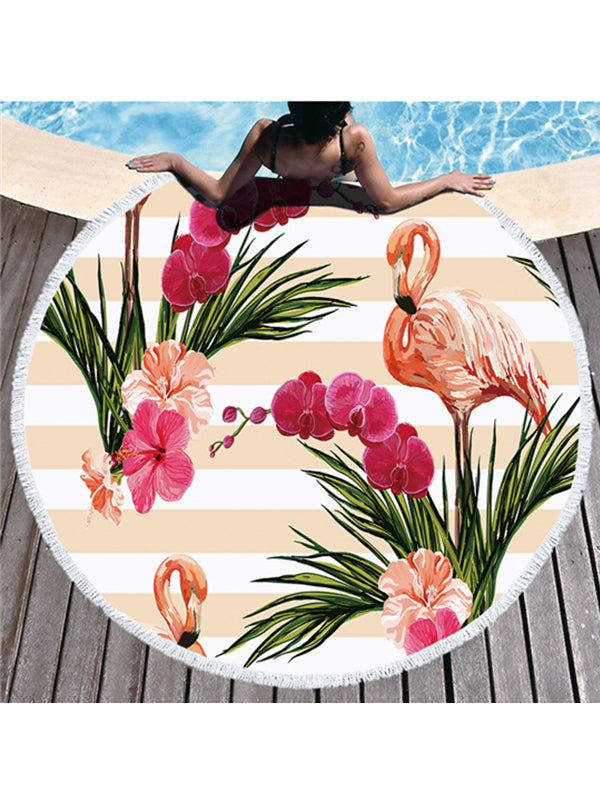 Flamingo Stripes Prints Tassel Round Beach Towel Orange Flowers