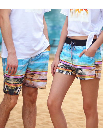 Couple's Beach Shorts in Coconut Tree