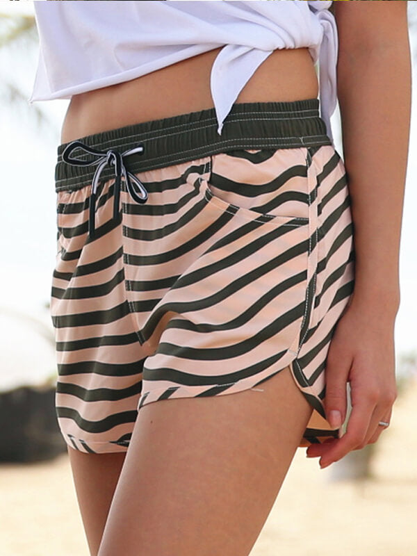 Couple's Beach Shorts in Gold & Army Green