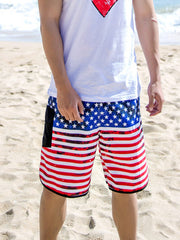 Trendy USA Flag Pattern Couple's Beach Shorts Men