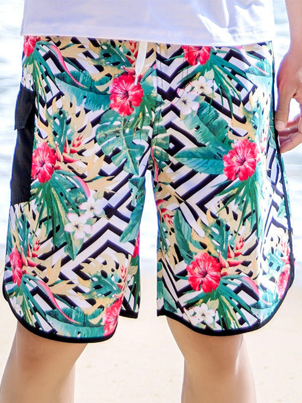 Tropical Plants Geo Pattern Couple's Beach Shorts Green Men
