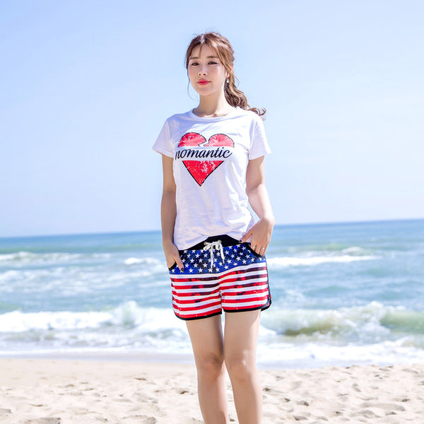 Trendy USA Flag Pattern Couple's Beach Shorts Women