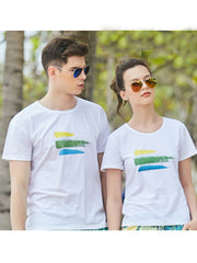 Tricolor strip Pattern Couple's T-shirt - Women