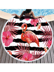 Flamingo Plants Stripes Prints Tassel Round Beach Towel Black Tropical Flowers
