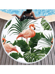 Flamingo Tropical Flowers Prints Tassel Round Beach Towel Leaves