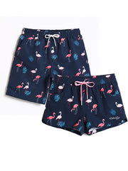 LikeBunny Couple's Flamingo Beach Shorts