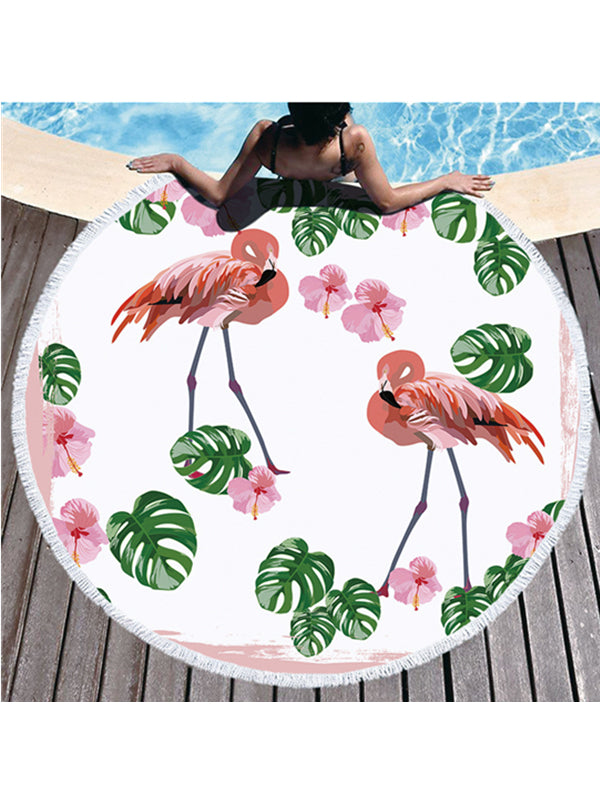 Trendy Flamingo Plants Prints Tassel Round Beach Towel Pink Flowers