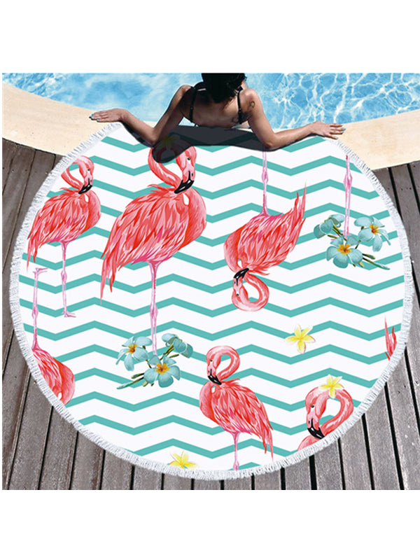 Flamingo Plants Geo Prints Tassel Round Beach Towel Light Blue Wave Tropical Flowers