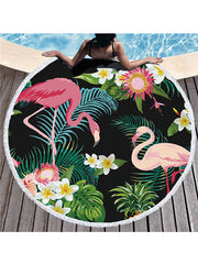 Flamingo Plants Prints Tassel Round Beach Towel Tropical Flower Black Background