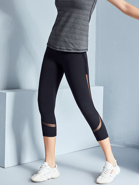 LikeBunny Mix Mesh Black Tight Sports Leggings 25""