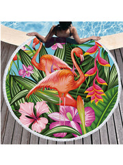 Flamingo Plants Printed Tassel Round Beach Towel Tropical Flowers