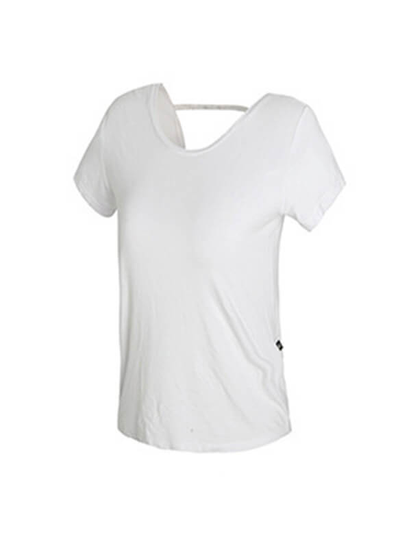 Women's Solid Open Back Workout Sports T-shirt White
