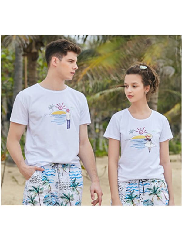 Sunrise Pattern Couple's T-shirt - Women