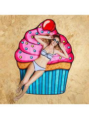 Delicious Dessert Theme Summer Beach Towel Cupcake