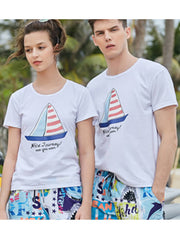 Sailboat Pattern Couple's T-shirt - Women