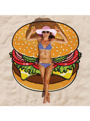 Delicious Dessert Theme Summer Beach Towel Hamburger