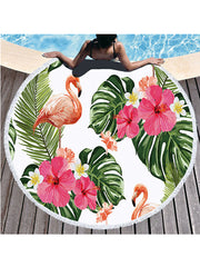 Flamingo Flowers Prints Tassel Round Beach Towel Tropical Plants
