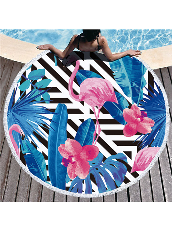 Flamingo Plants Geo Prints Tassel Round Beach Towel Black Triangle