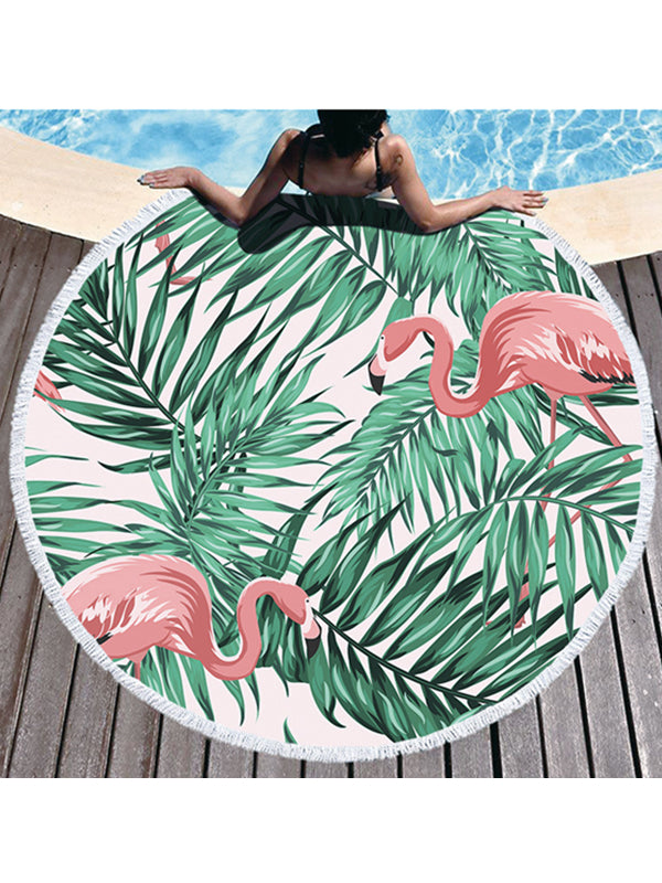 Trendy Flamingo Plants Prints Tassel Round Beach Towel Green Leaves