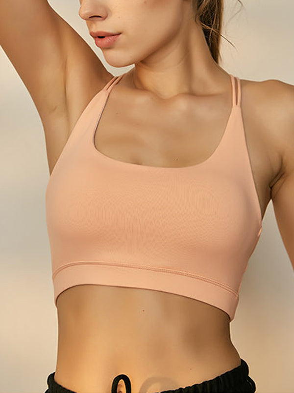 Energetic Women's String Decor High Impact Support Workout Sports Bra Orange
