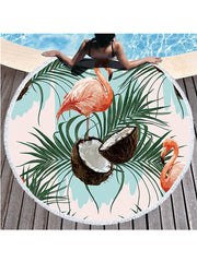 Flamingo Tropical Flowers Prints Tassel Round Beach Towel Leaves Coconut