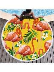 Flamingo Plants Printed Tassel Round Beach Towel Tropical Flowers Yellow