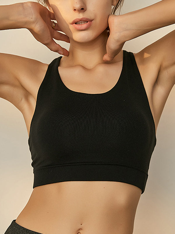 Fashion Women's String Decor High Impact Support Workout Sports Bra Black