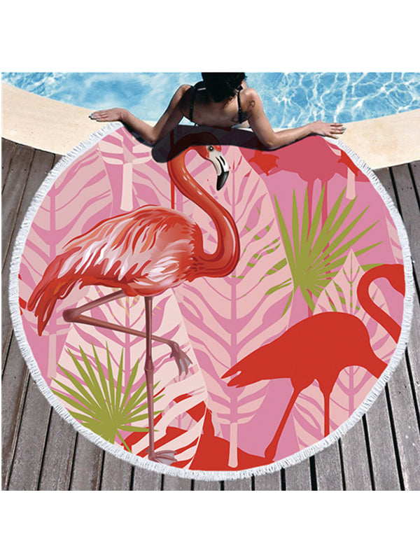 Flamingo Plants Printed Tassel Round Beach Towel Tropical Flowers Pink