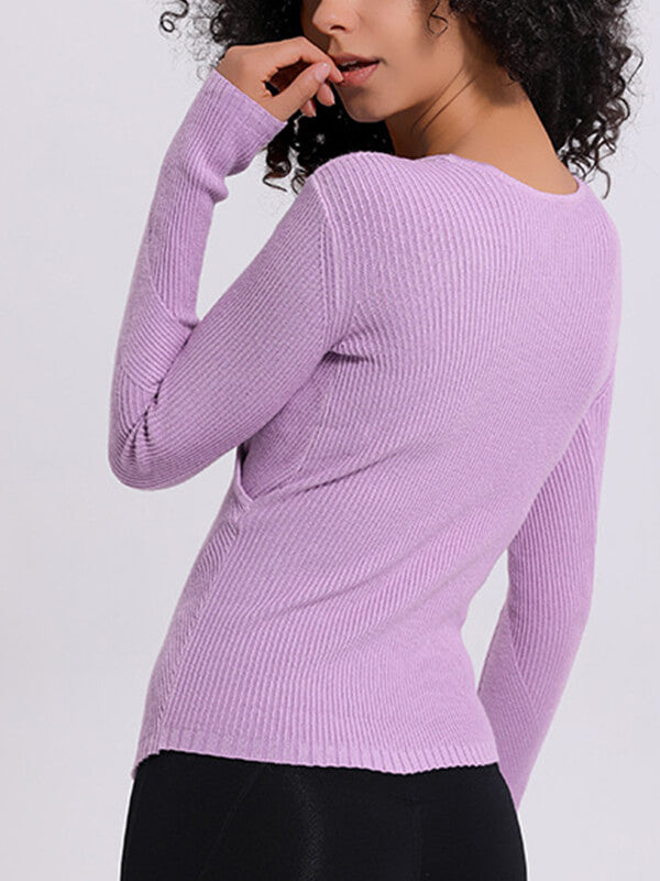 LikeBunny Front Cross Knitted Long Sleeve
