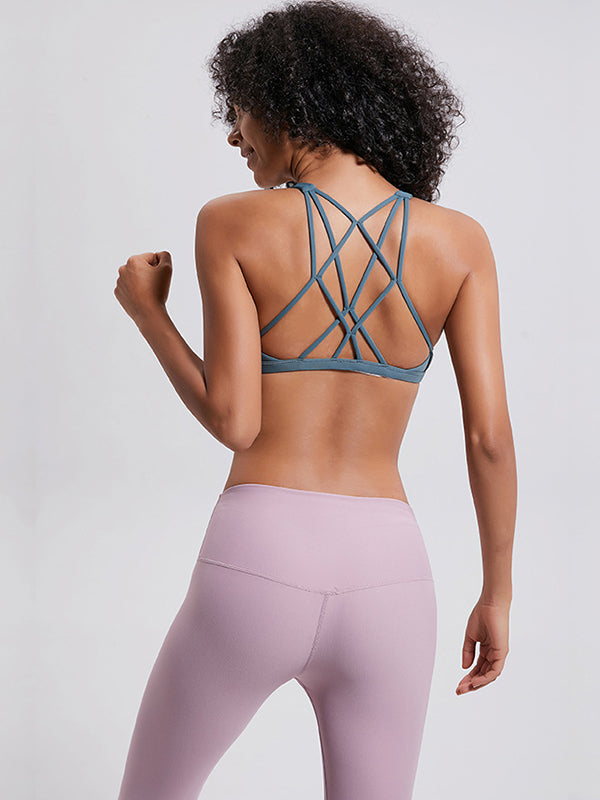 LikeBunny Gathering Cross Back Light Impact Sports Bra Laguna Blue