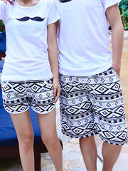 Black and White Geo Rhombus Pattern Couple's Beach Shorts