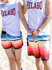Gradual Color Pattern Couple's Beach Shorts