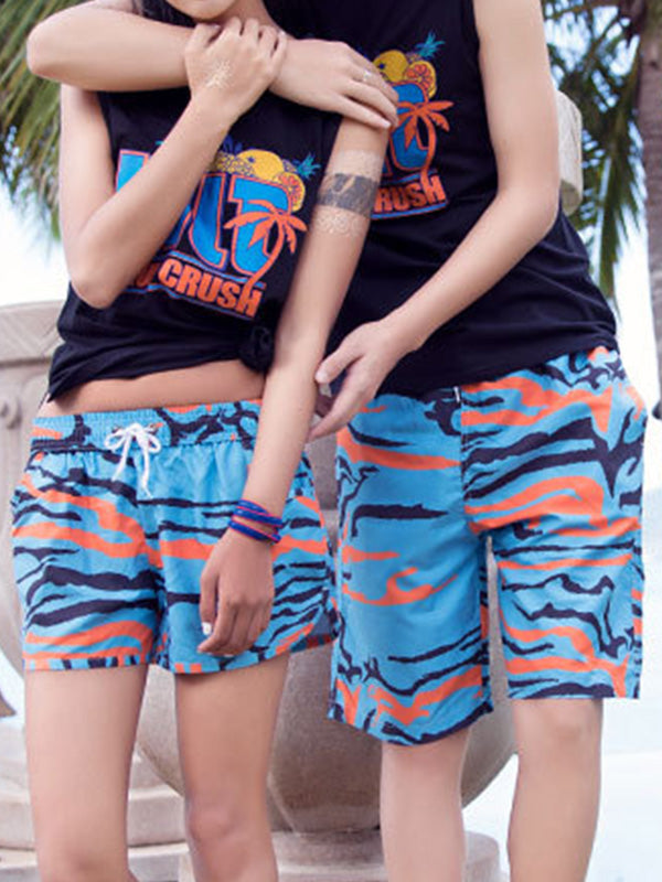 Blue and Orange Camouflage Pattern Couple's Beach Shorts