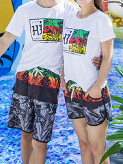 Three-color Tropical Plants Pattern Couple's Beach Shorts