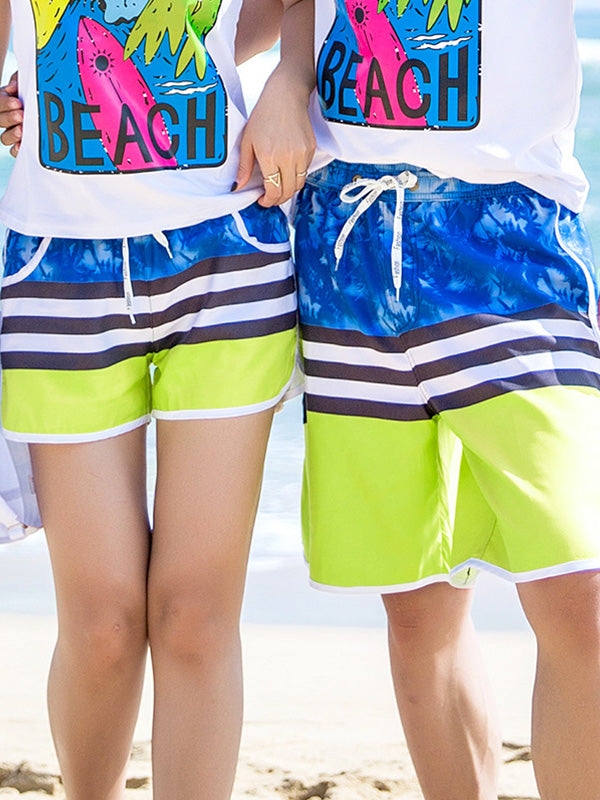 Tropical Trees Stripes Couple's Beach Shorts Green Blue Black