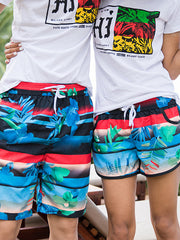 Striped Tropical Plants Pattern Couple's Beach Shorts Black Blue Red