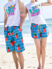 Fresh Geo Pineapple Pattern Couple's Beach Shorts Blue Orange